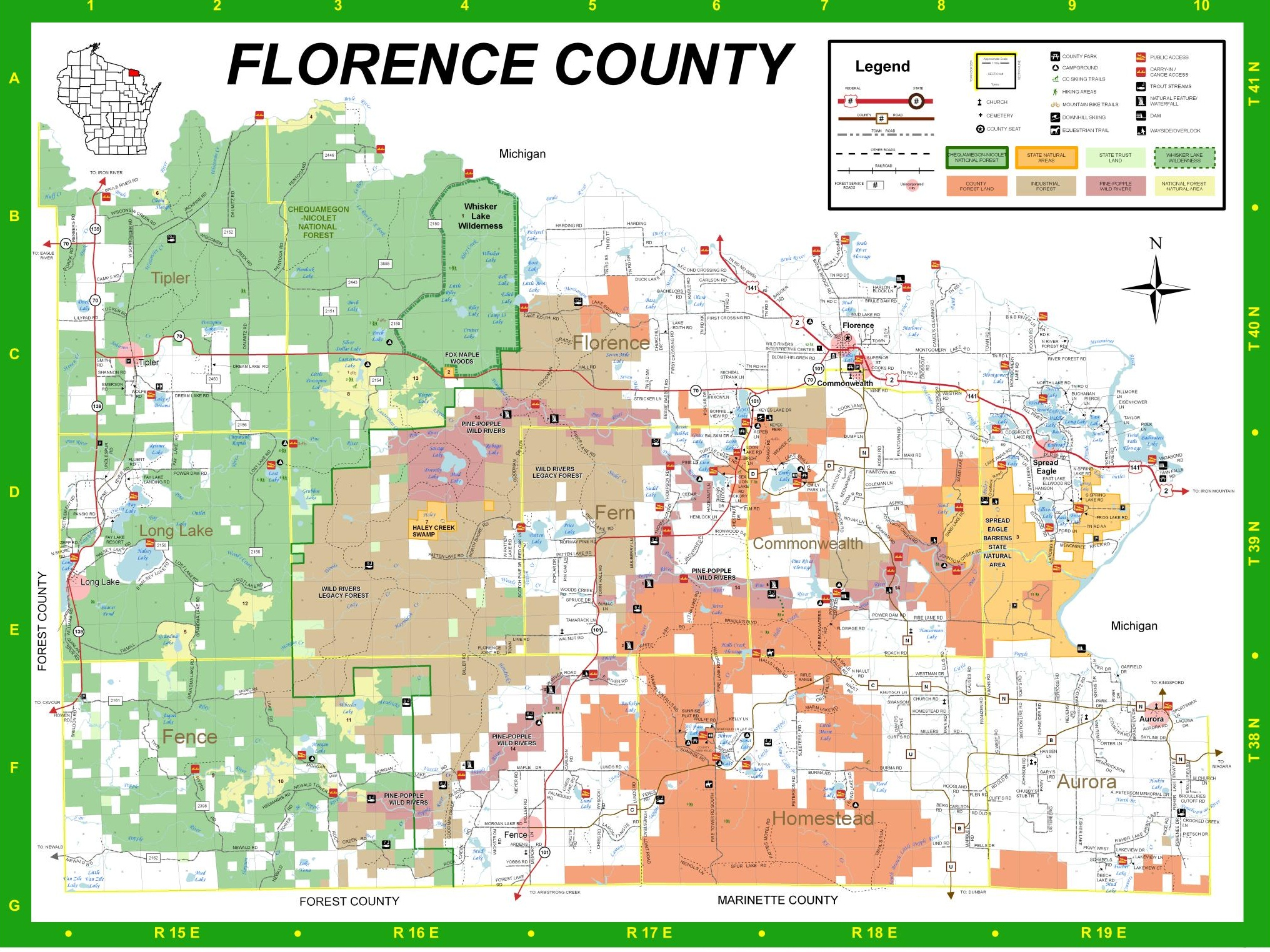 florence county map. florence county recreation guide  trail maps